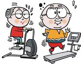 Vector cartoon of grandparents using exercise machines — Stock Vector