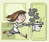 Vector cartoon of housewife running with burning saucepan — Stock Vector