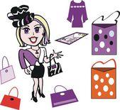 Wektor kreskówka modnej kobiety z akcesoriami — Wektor stockowy