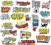 Vector illustration with comic book words — Stock Vector