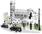 Vector illustration of pedestrians in Whitehall, London England — Stock Vector