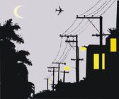 Vector illustration of silhouette telephone poles at night. — Stock Vector