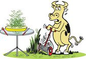 Vektör karikatür aç inek yemek için çim biçme. — Stok Vektör