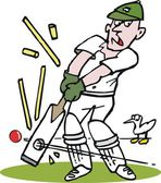 Vector cartoon of cricketer being bowled by fast ball. — Stock Vector