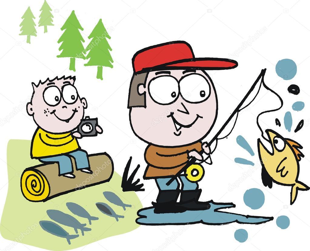 как нарисовать рыбалку для папы