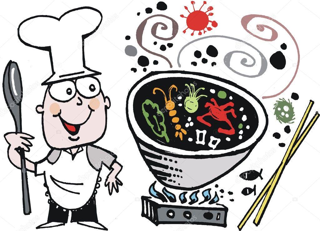 Vector cartoon of happy chef cooking asian food in wok for Cuisinier wok