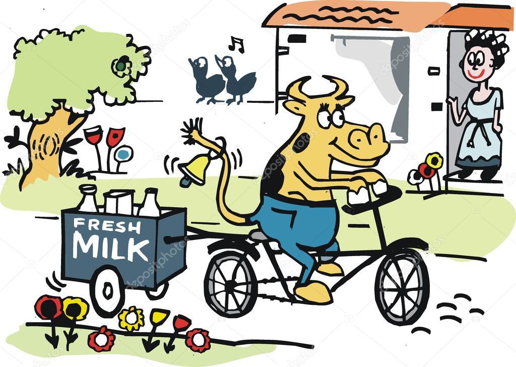 Milk Cow Vector Vector Cartoon of Happy Cow