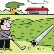 Vector cartoon of golfer putting on green. — Stockvectorbeeld