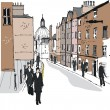 Vector illustration of pedestrians at Eton, England. — Stock Vector