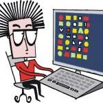 caricature de vecteur d'homme geek à l'aide d'ordinateur de bureau — Vecteur