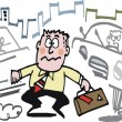Vector cartoon of man trying to cross busy city street. — Vektorgrafik