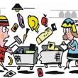 Vector cartoon of women shopping in supermarket — 图库矢量图片