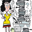 Vector cartoon of overworked housewife washing dishes in sink. — Stok Vektör