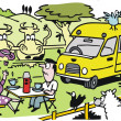 Vector cartoon of couple camping with recreational vehicle. — Vector de stock #26021559