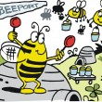 Vector cartoon of bees landing at hive airport. — Stock Vector
