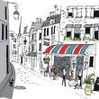 Vector illustration of French cafe with eating and drinking — Stok Vektör