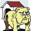 Stock Vector: Vector cartoon of fierce bulldog, outside kennel.