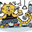 Vector cartoon of cat using weights in gymnasium. — Stock Vector