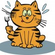 Vector cartoon of hungry cat holding fork. — Stock Vector
