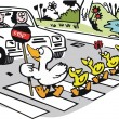 Vector cartoon of duck with ducklings crossing road. — Stock Vector