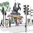 Vector illustration of London statue with pedestrians. — Stock Vector