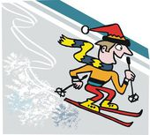 Vector cartoon of happy skier rushing down mountain slope — Stockvektor