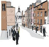 Vector illustration of pedestrians at Eton, England. — Stock Vector