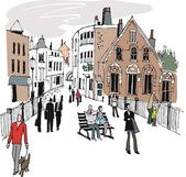 Vector illustration of old buildings and street scene, Windsor England. — Stock Vector