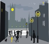 Vector illustration of pedestrians at night in London, England. — Stock Vector