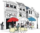 Vector illustratie van een diner in franse cafe. — Stockvector