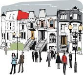 Vector illustration of old houses in Montreal, Canada — Stock Vector