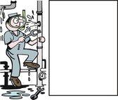 Vector cartoon of plumber working on leaky pipe. — Stock Vector