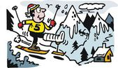 矢量卡通的腿上石膏的滑雪者. — 图库矢量图片