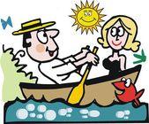 Dibujos animados de vector de hombre y mujer en bote de remos. — Vector de stock