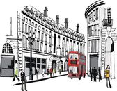 Vector illustration of PIccadilly buildings, London with red bus. — Stock Vector