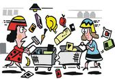 Vector cartoon of women shopping in supermarket — Stock Vector