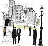 Vector illustration of Windsor castle, with pedestrians, England. — Stock Vector