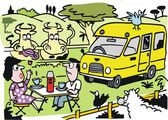 Vector cartoon of couple camping with recreational vehicle. — Vector de stock