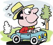 Vector cartoon of smiling motorist in automobile — Stock Vector