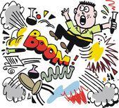 Vector cartoon of scientist being blown up in industrial explosion. — Stock Vector