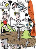 ステージ上のバレエ ダンサーのベクトルの漫画. — ストックベクタ
