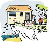 Vector cartoon of house for sale on clifftop. — Stock Vector