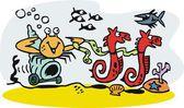 Vektör karikatür yalnızcıl yengeç ve denizatı tarafından çekilerek kabuk. — Stok Vektör
