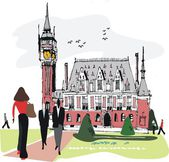 Vector illustration of Calais town hall, France with pedestrians. — Stock Vector