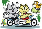 Vector cartoon of happy cats riding on bicycle — Stock Vector