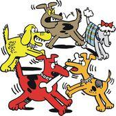 Vector cartoon of dogs fighting over bone. — Stock Vector