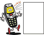 Vector cartoon of animated mobile phone with ringer tone. — Stock Vector