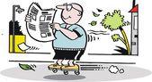 矢量卡通的溜冰鞋读报纸上的人 — 图库矢量图片