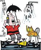 Vector cartoon of man in leaky bathroom phoning for plumber — Stock Vector