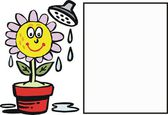 Vector cartoon of happy flower being watered from shower. — Stock Vector